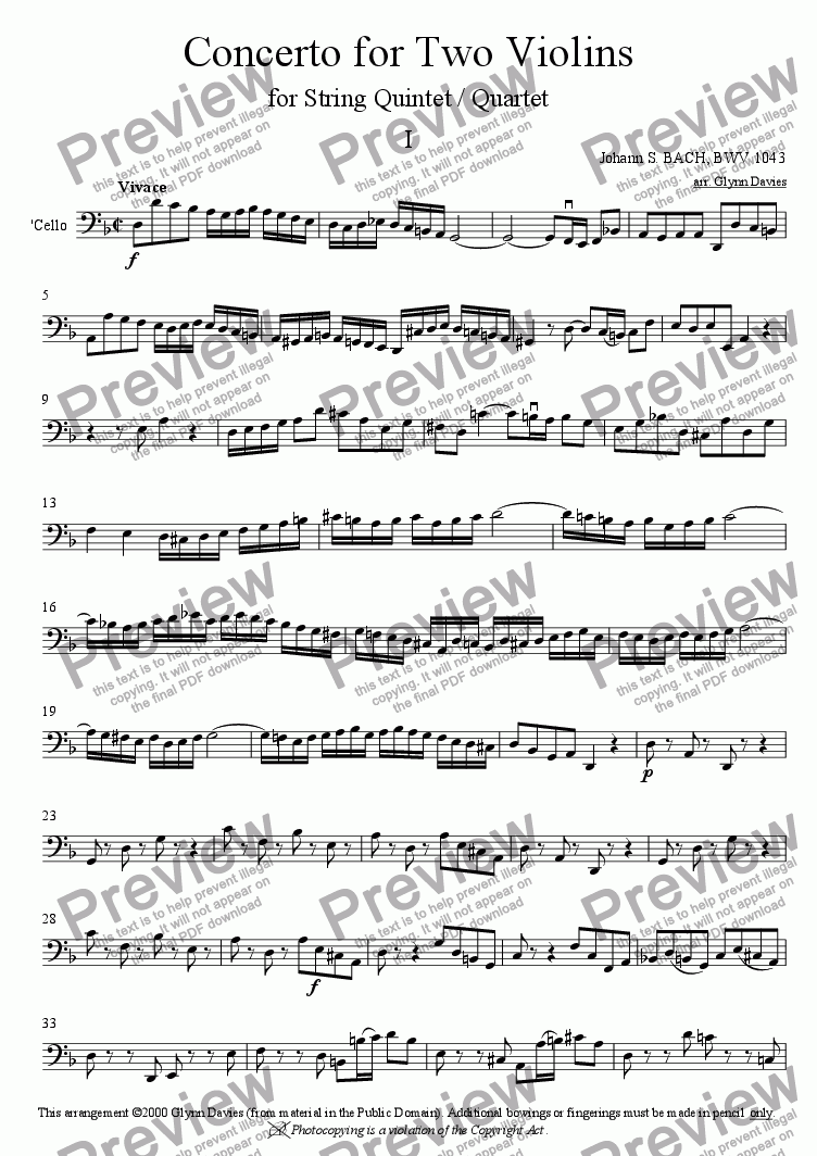 page one of the Cello part from Concerto in D minor for 2 Violins - 1. Vivace