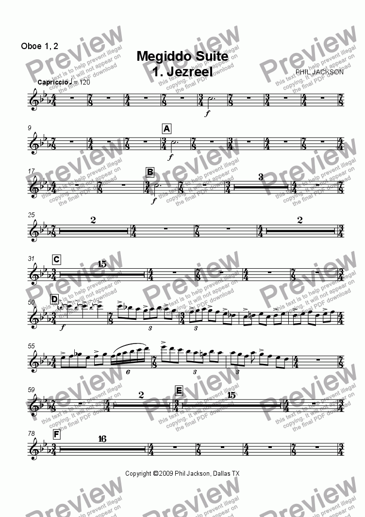 page one of the Oboe 1,2 part from Megiddo Suite