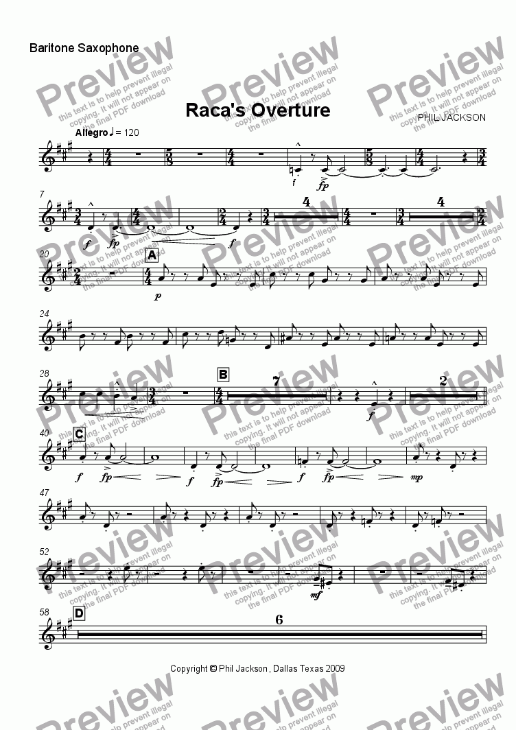 page one of the Bari Sax part from Raca's Overture