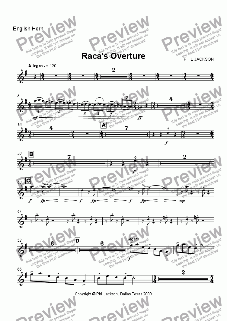 page one of the English Horn part from Raca's Overture