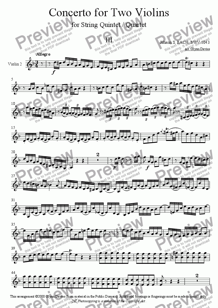 page one of the Violin 2 part from Concerto in D minor for 2 Violins - 3. Allegro