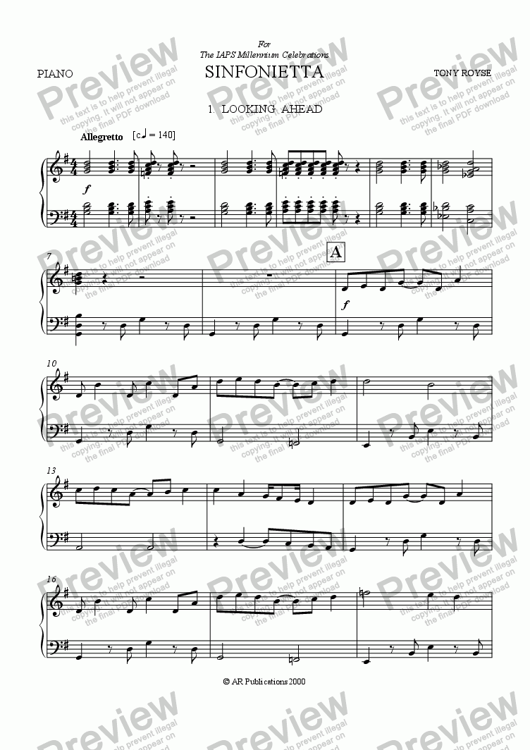 page one of the Piano part from Sinfonietta 'Looking Ahead' (1st Mov.) for School Orchestra