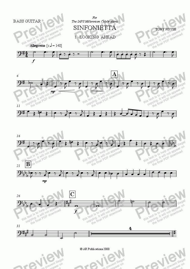 page one of the B. Guitar part from Sinfonietta 'Looking Ahead' (1st Mov.) for School Orchestra