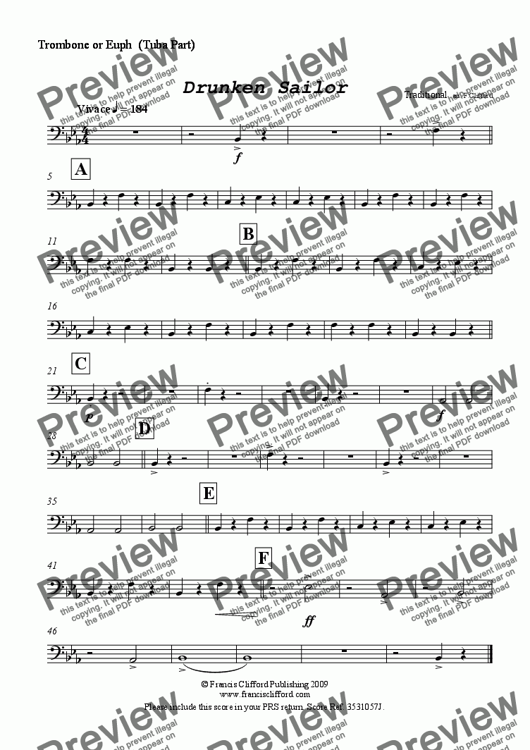 page one of the Trombone or Euph (Tuba Part) part from Drunken Sailor (Brass Quintet Version)