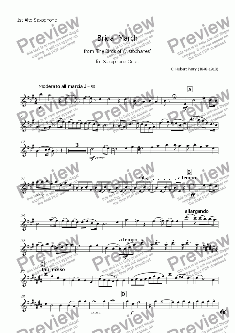 page one of the 1st Alto Saxophone part from Bridal March from 'The Birds of Aristophanes' (Saxophone Octet)