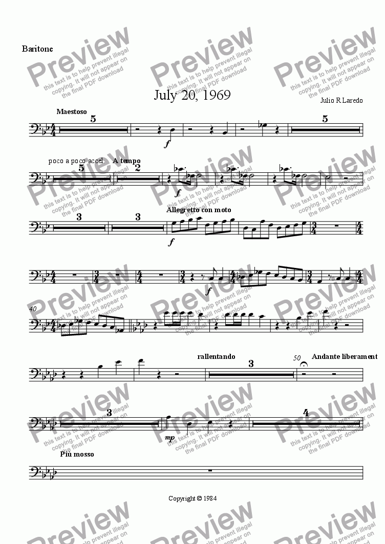 page one of the Baritone Bass Cleff part from July 20, 1969