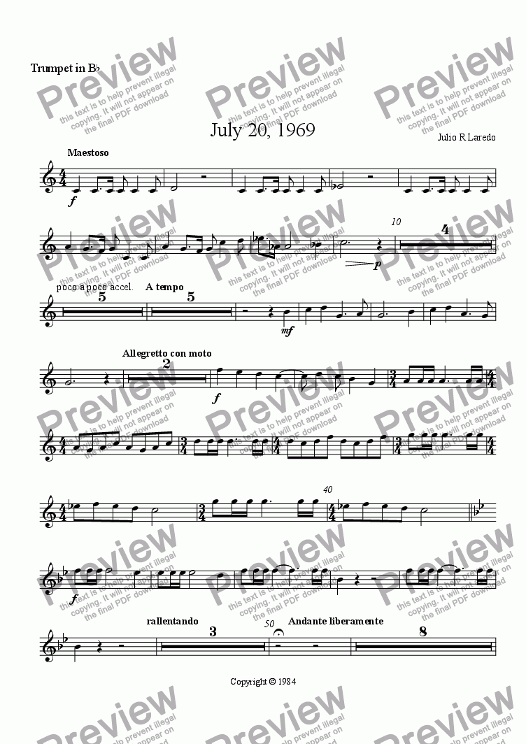 page one of the Trumpet in B-flat part from July 20, 1969