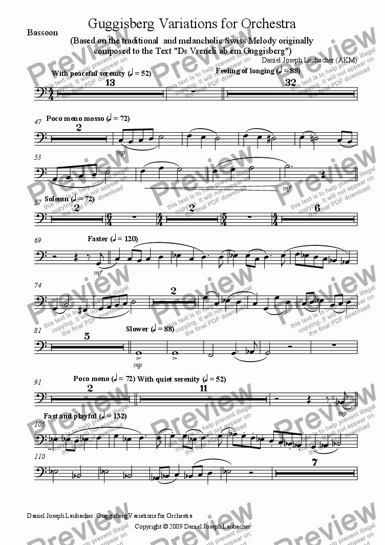 page one of the Bassoon part from Guggisberg Variations for Orchestra