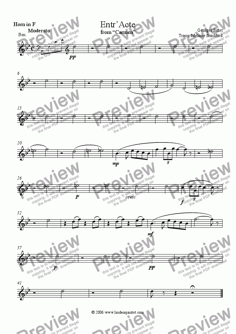 "page one of the Horn part from Bizet - Entr'Acte from ""Carmen"""