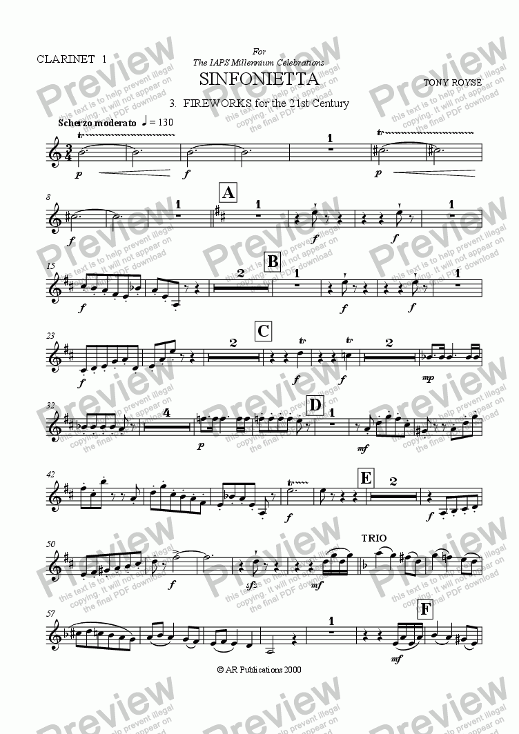 page one of the Clar. 1 part from Sinfonietta 'Fireworks' (3rd Mov.) for School Orchestra
