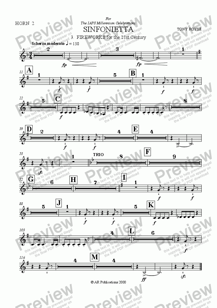 page one of the Horn 2 (Optional) part from Sinfonietta 'Fireworks' (3rd Mov.) for School Orchestra