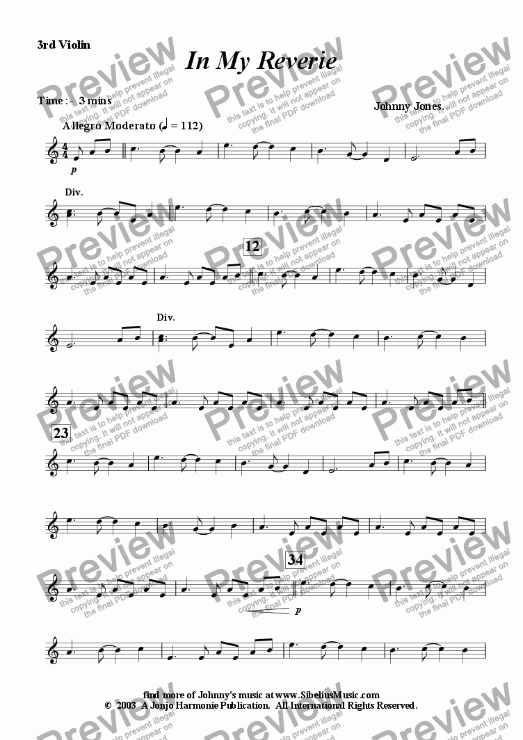 page one of the 3rd Violin part from In My Reverie  (String Orchestra)