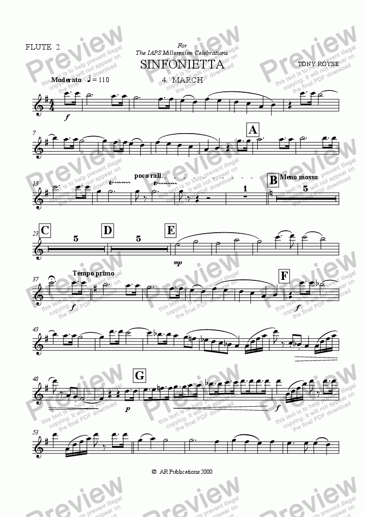 page one of the Flute 2 (Optional) part from Sinfonietta 'March' (4th Mov.) for School Orchestra