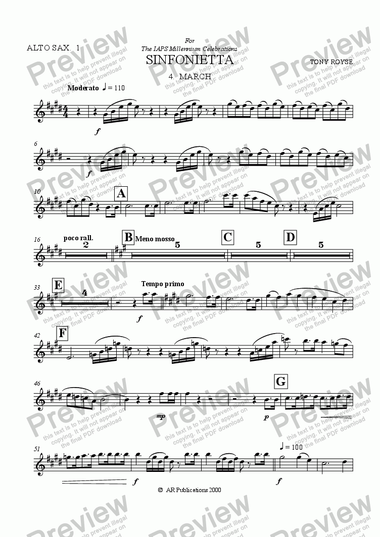page one of the Alto Sax. 1 part from Sinfonietta 'March' (4th Mov.) for School Orchestra