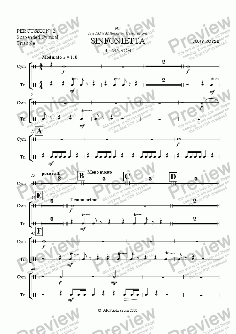 page one of the Percussion 2 part from Sinfonietta 'March' (4th Mov.) for School Orchestra