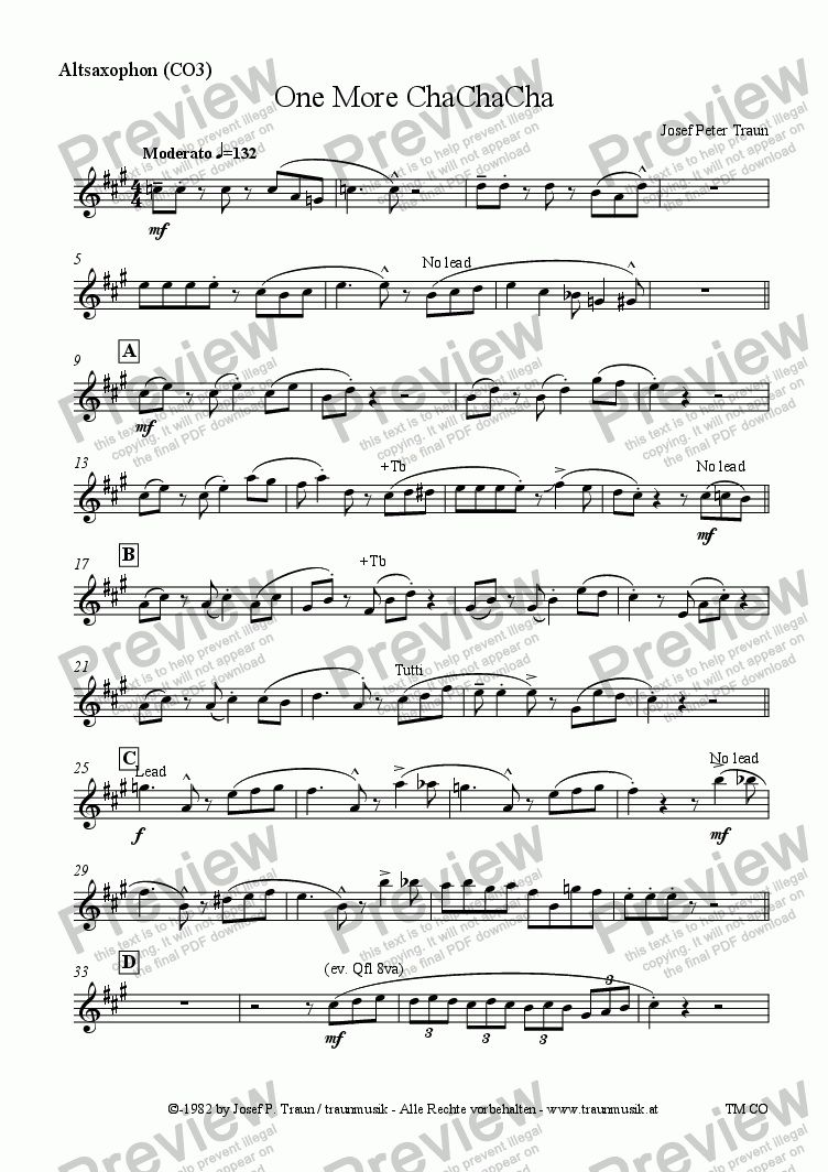 page one of the Altsaxophon (CO3) part from One More ChaChaCha (CO3/Score & Parts)