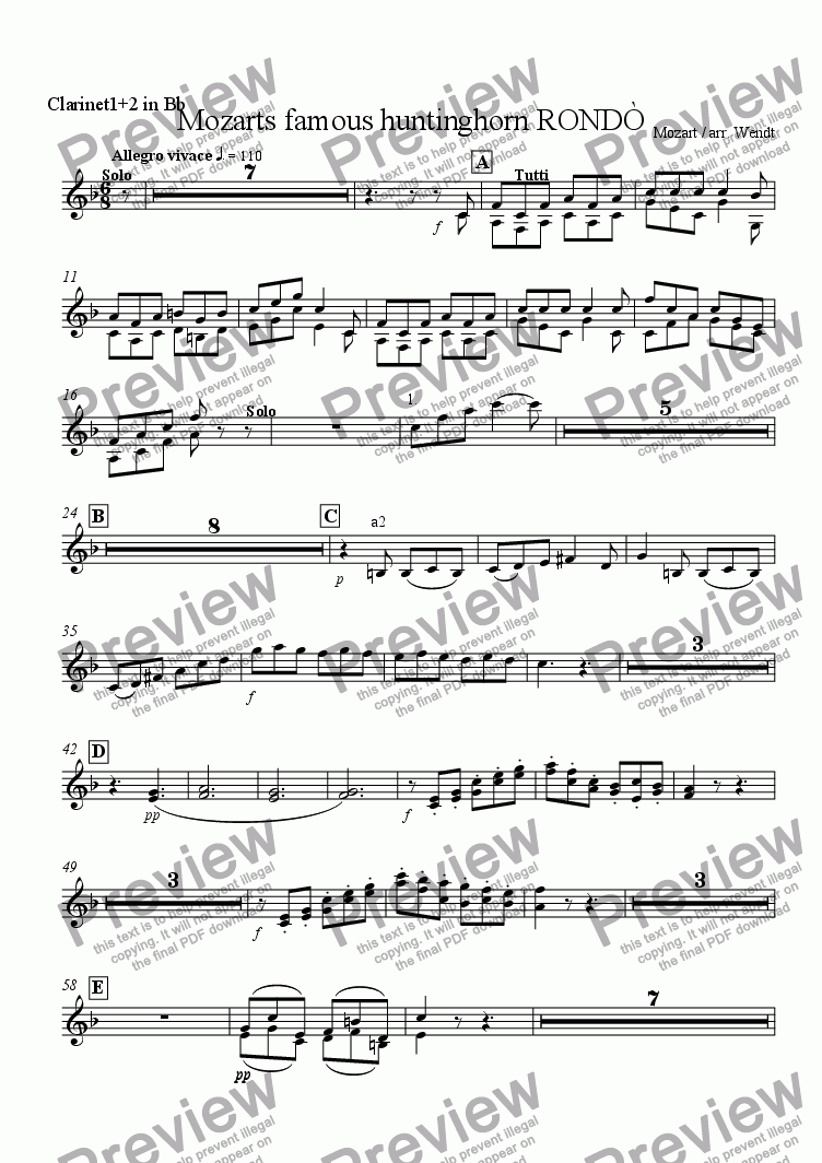 page one of the Clarinet 1+2 in Bb part from Horn-Rondo from Mozart 4th concerto