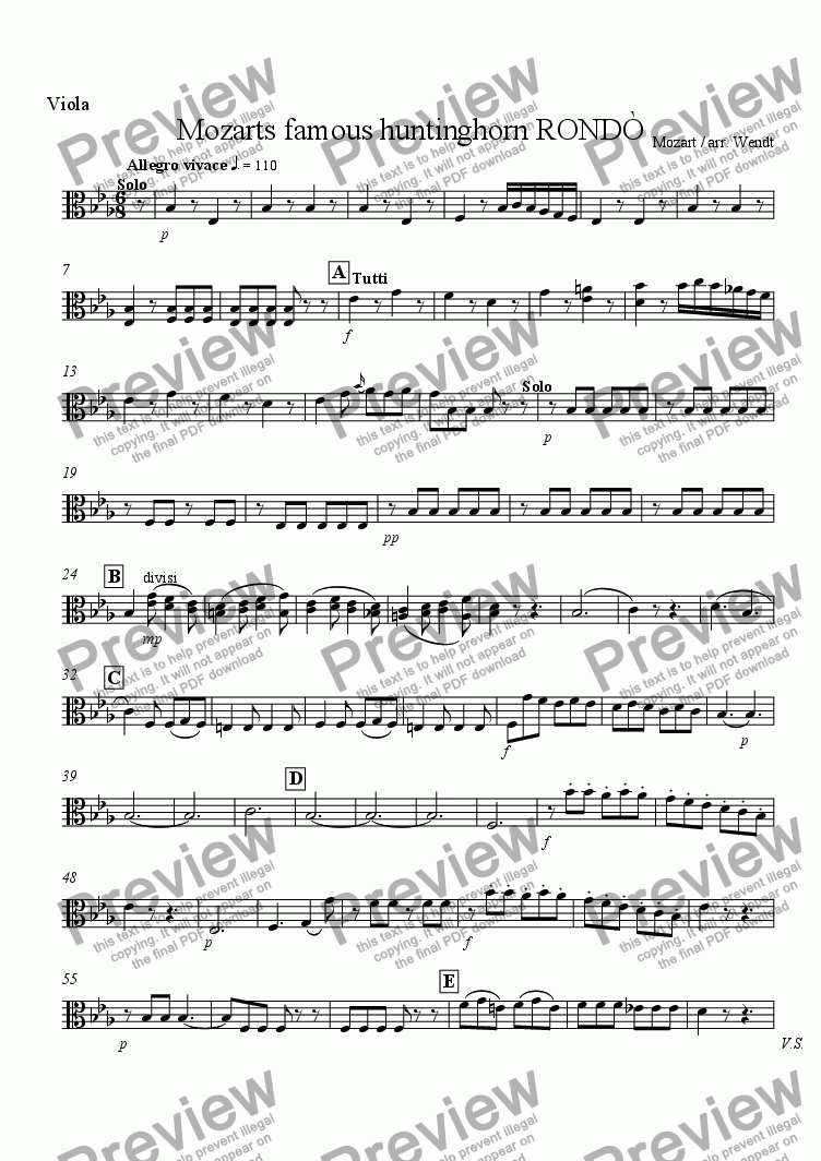 page one of the Viola part from Horn-Rondo from Mozart 4th concerto