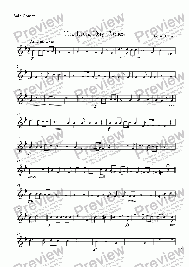 page one of the Solo Cornet part from The Long Day Closes