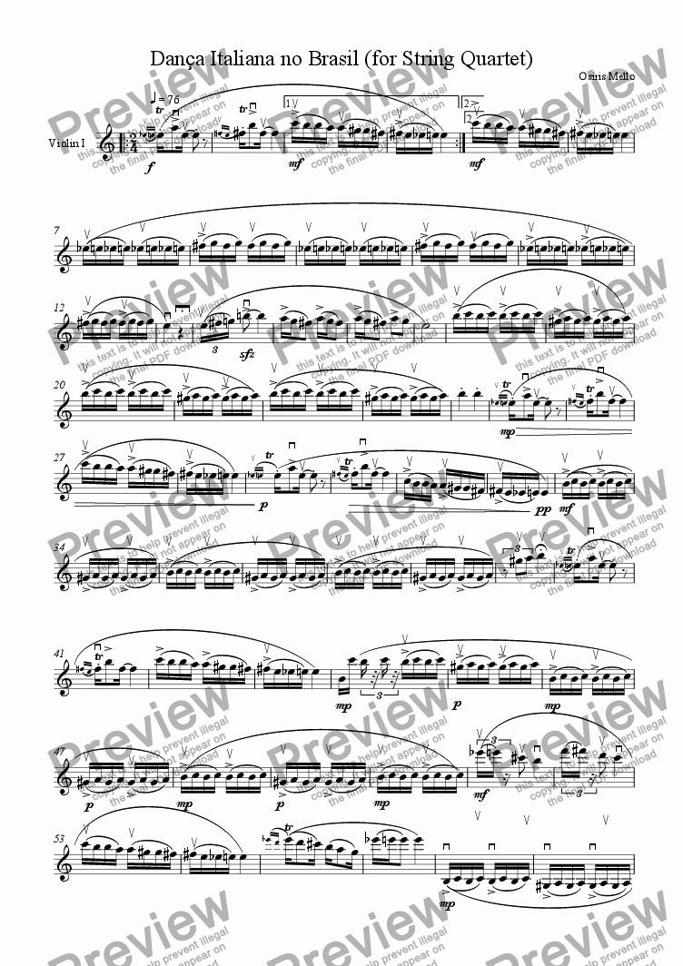 page one of the Violin 1 part from DAN�A ITALIANA NO BRASIL