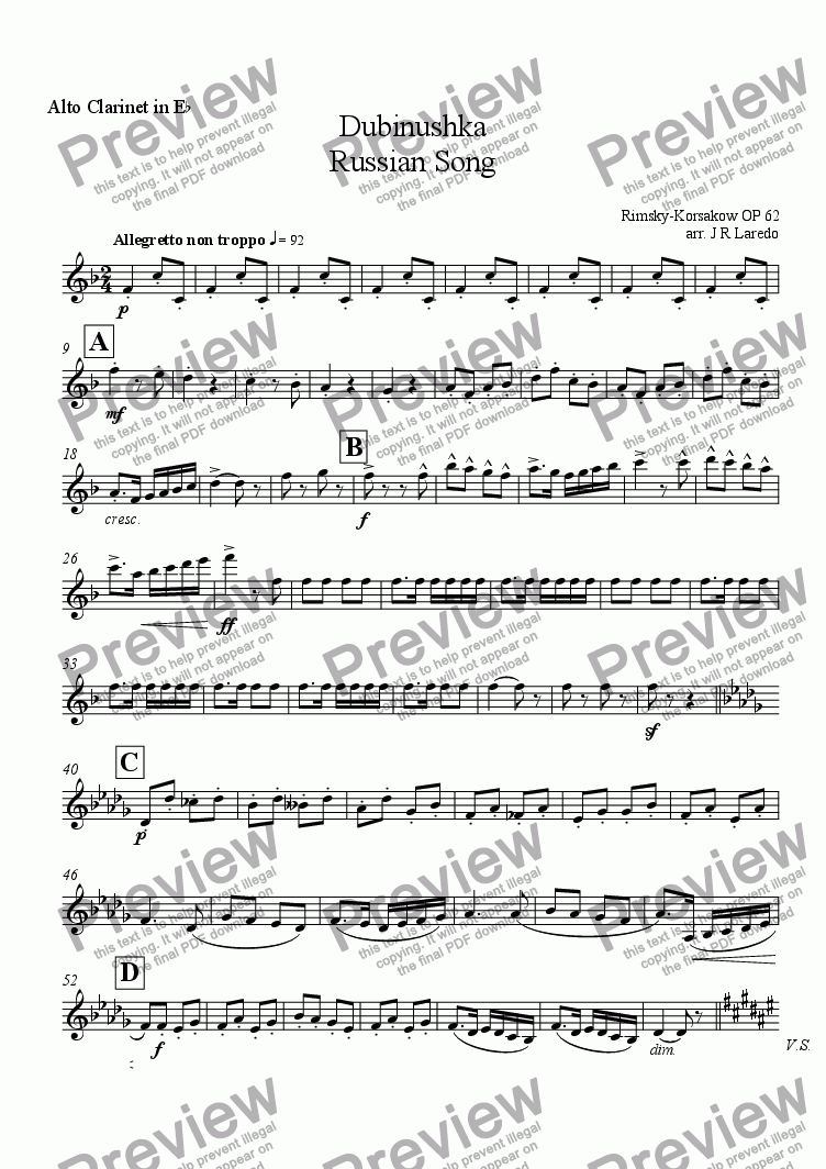 page one of the Alto Clarinet in E-flat part from Dubinushka