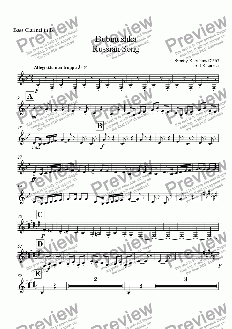 page one of the Bass Clarinet in B-flat part from Dubinushka