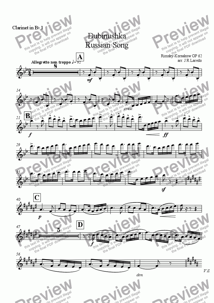 page one of the Clarinet in B-flat 1 part from Dubinushka