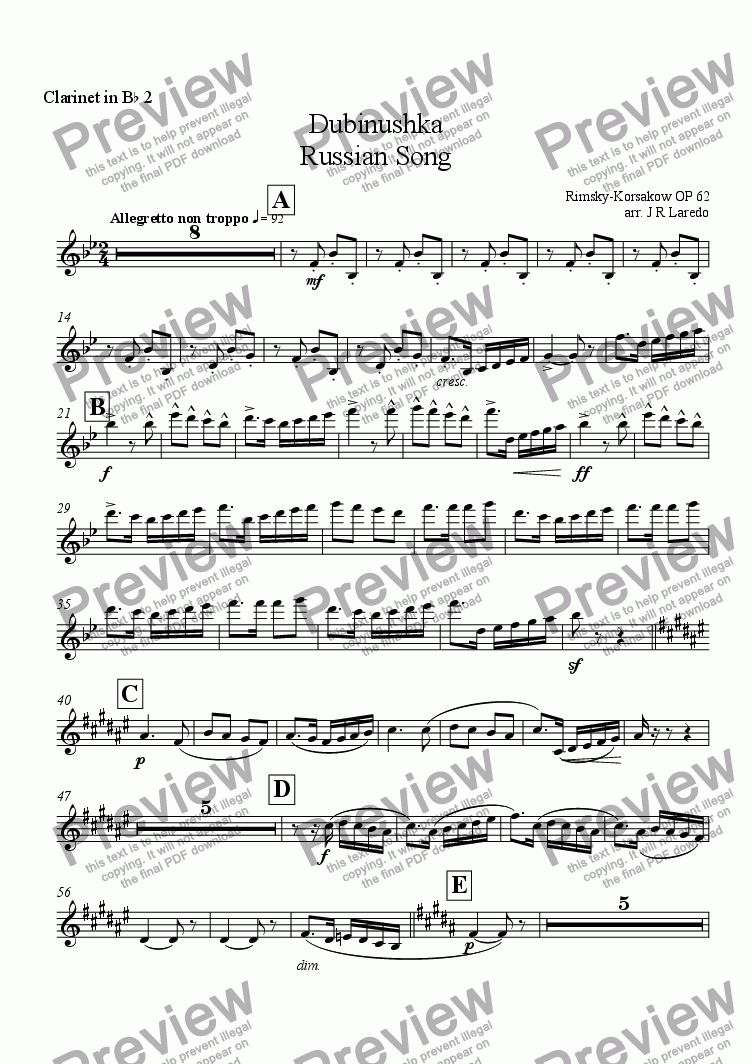 page one of the Clarinet in B-flat 2 part from Dubinushka