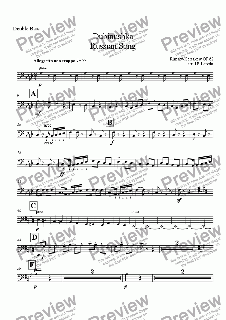 page one of the Double Bass part from Dubinushka