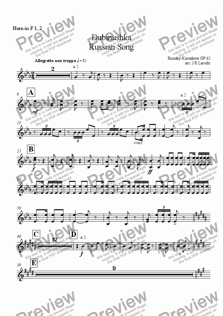 page one of the Horn in F 1, 2 part from Dubinushka