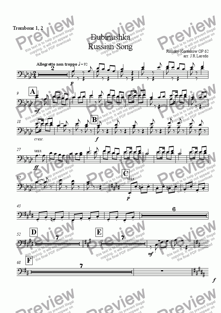page one of the Trombone 1, 2 part from Dubinushka