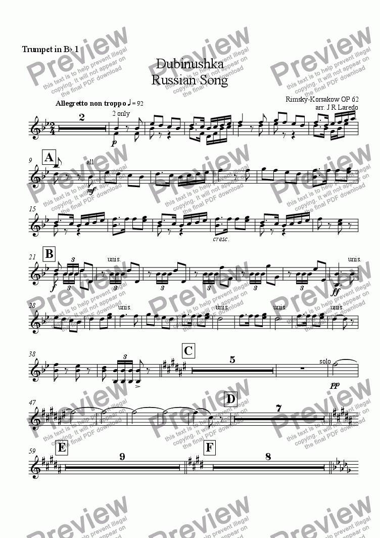 page one of the Trumpet in B-flat 1 part from Dubinushka