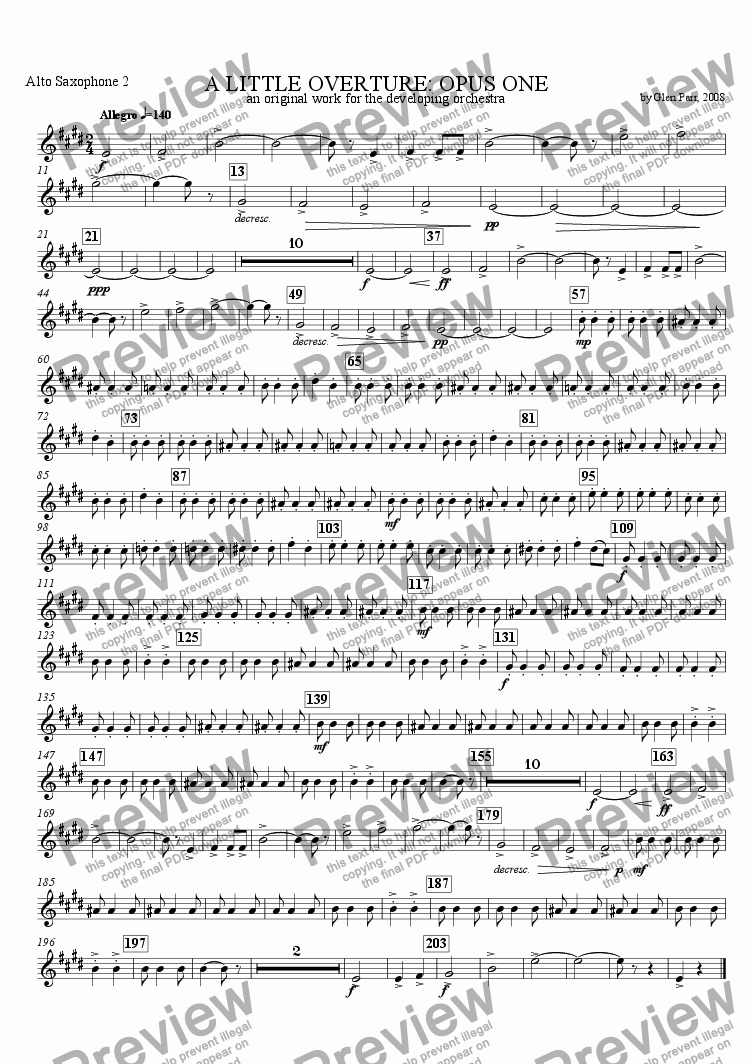 page one of the Alton Saxophone 2 part from A Little Overture: Opus #1 (for the developing orchestra)