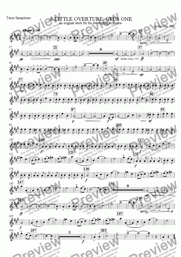 page one of the Tenor Saxophone part from A Little Overture: Opus #1 (for the developing orchestra)