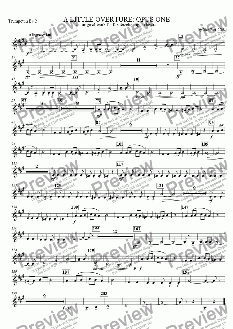 page one of the Trumpet 2 part from A Little Overture: Opus #1 (for the developing orchestra)