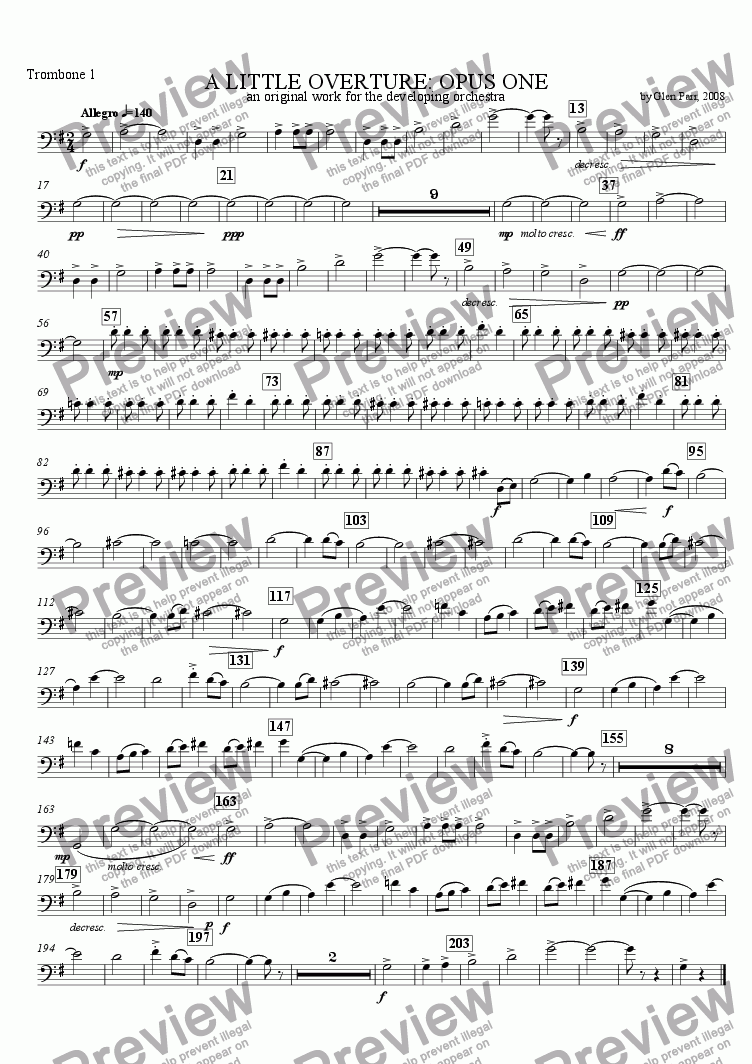 page one of the Trombone 1 part from A Little Overture: Opus #1 (for the developing orchestra)