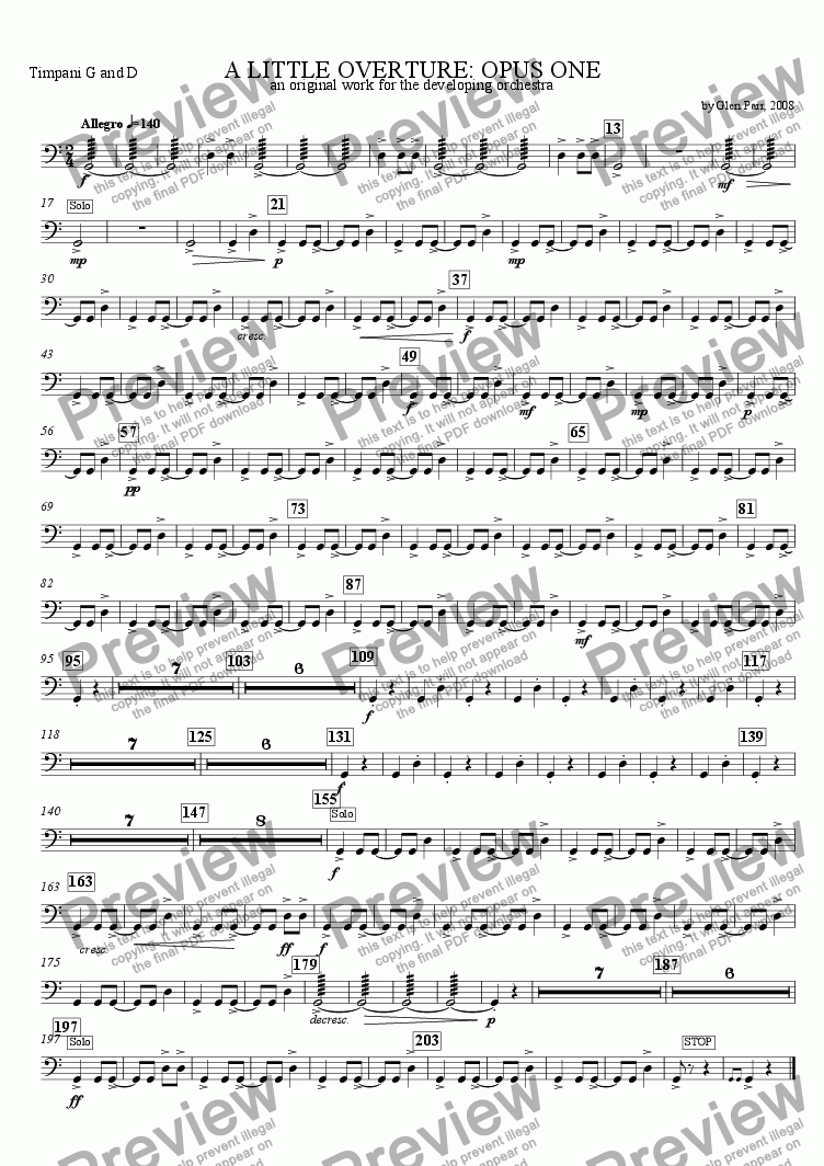 page one of the Timpani part from A Little Overture: Opus #1 (for the developing orchestra)
