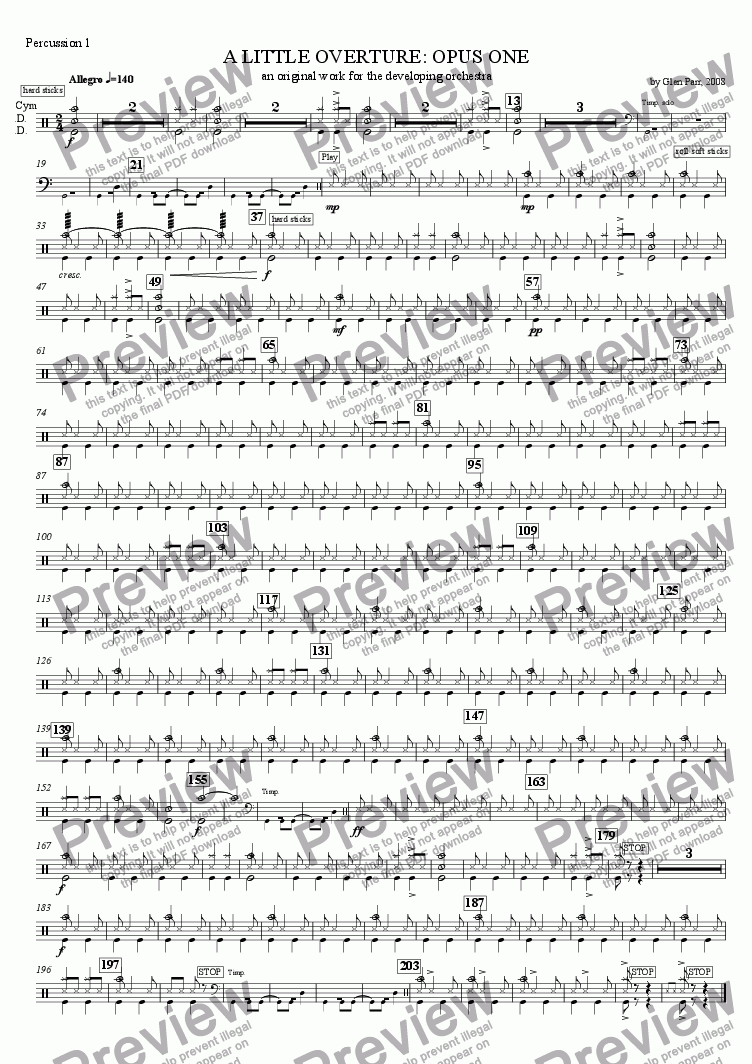 page one of the Percussion 1 SD BD Cym part from A Little Overture: Opus #1 (for the developing orchestra)