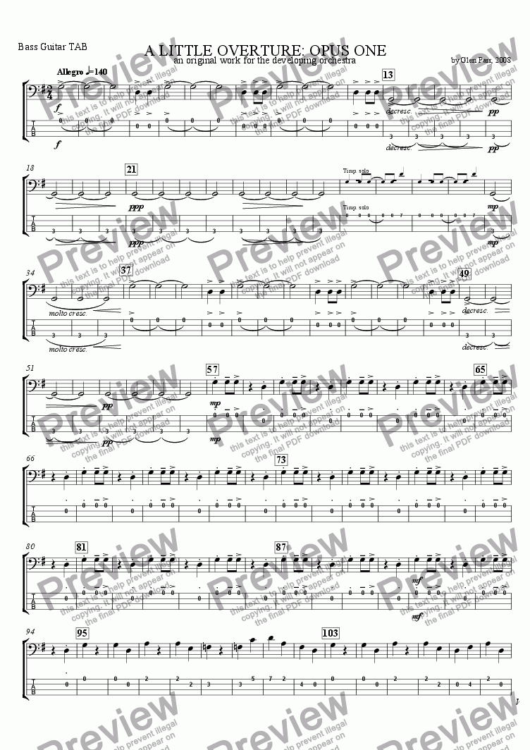 page one of the TAB Bass Guitar part from A Little Overture: Opus #1 (for the developing orchestra)