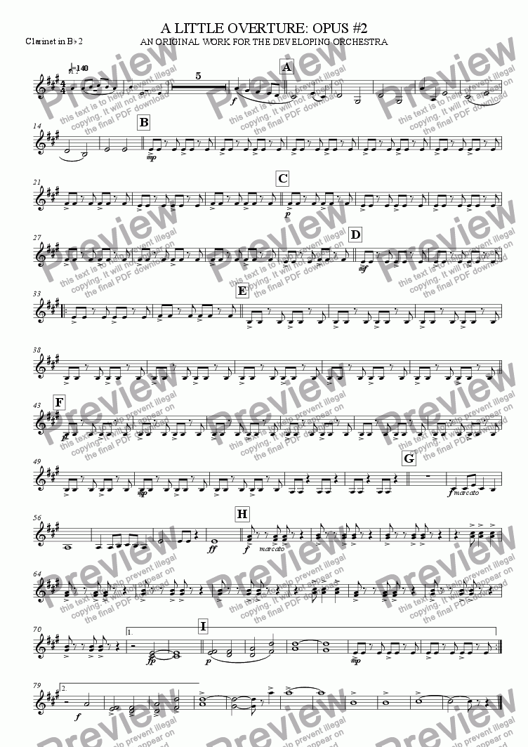 page one of the Clarinet 2 part from A Little Overture: Opus #2 (for the developing orchestra)