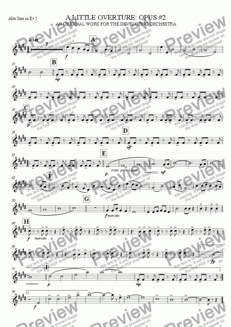 page one of the Alto Saxophone 2 part from A Little Overture: Opus #2 (for the developing orchestra)