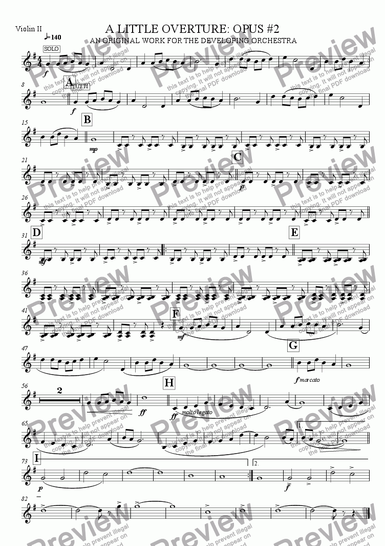 page one of the Violin 2 part from A Little Overture: Opus #2 (for the developing orchestra)