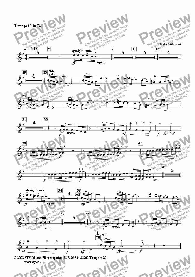 page one of the Bb Trumpet 1 part from Brother Silver (wind band)