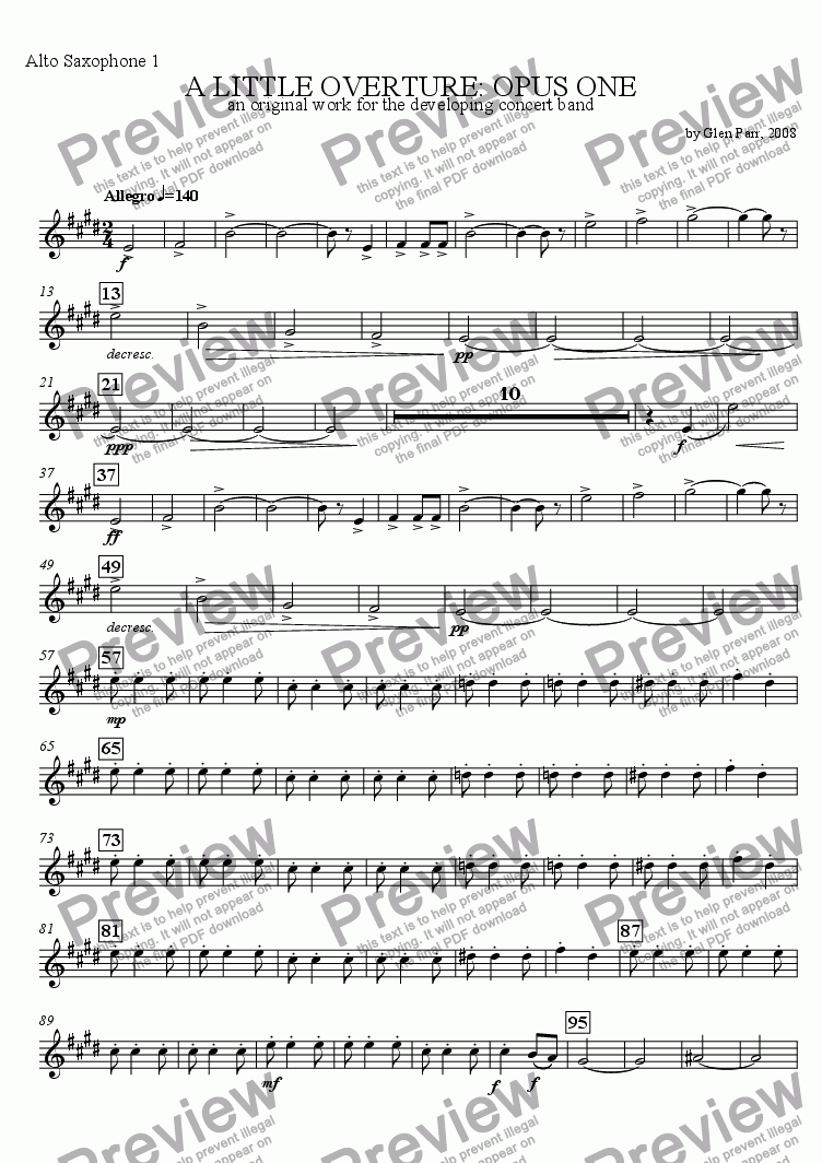 page one of the Alto Saxophone 1 part from A Little Overture: Opus #1 (for the developing concert band)