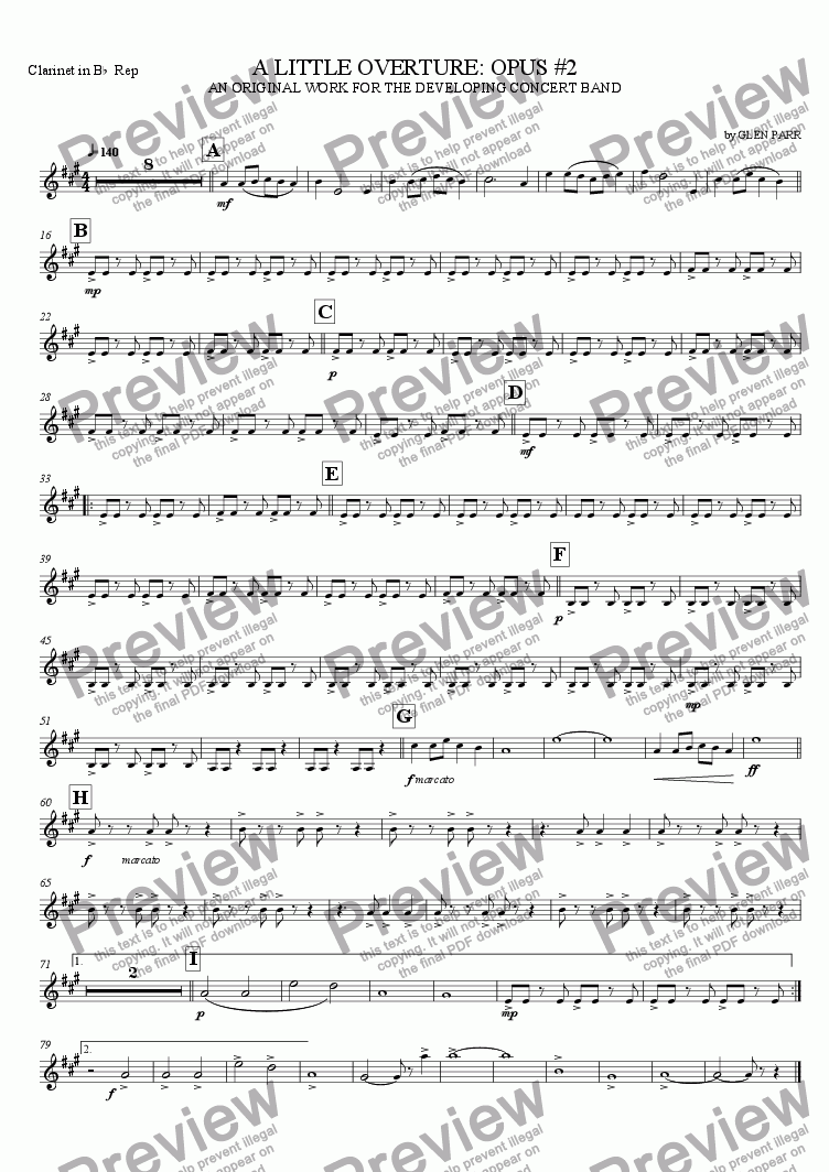 page one of the Repiano Clarinet part from A Little Overture: Opus #2 (for the developing concert band)