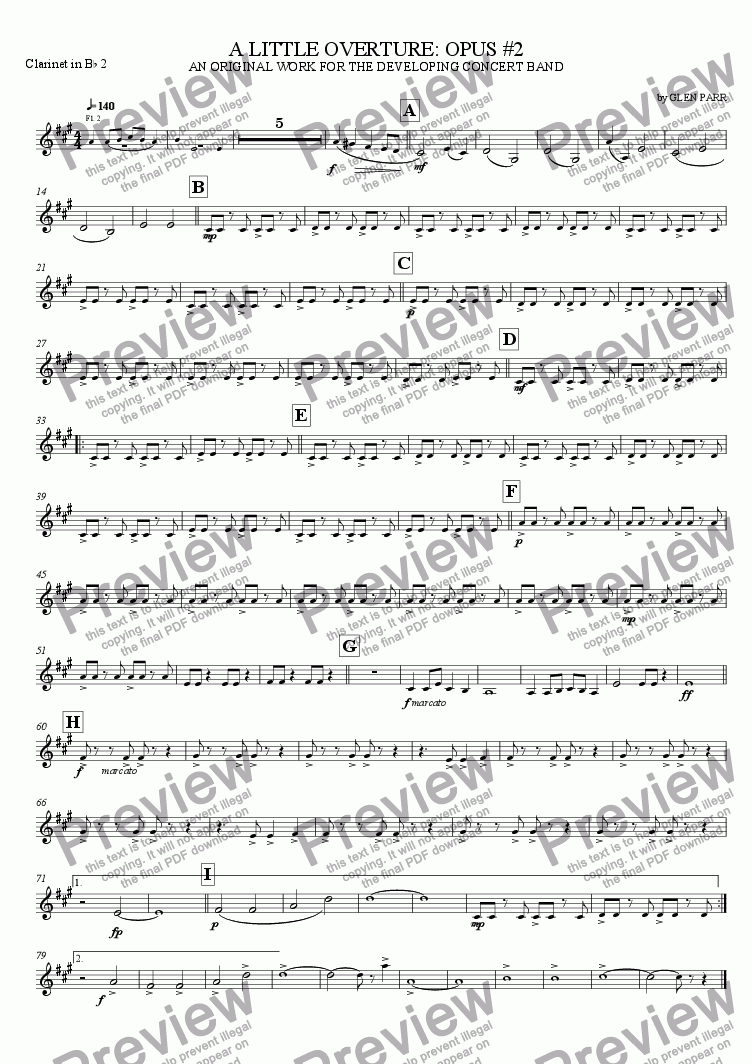 page one of the Clarinet 2 part from A Little Overture: Opus #2 (for the developing concert band)