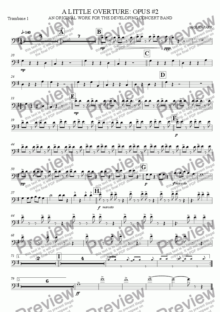 page one of the Trombone 1 part from A Little Overture: Opus #2 (for the developing concert band)