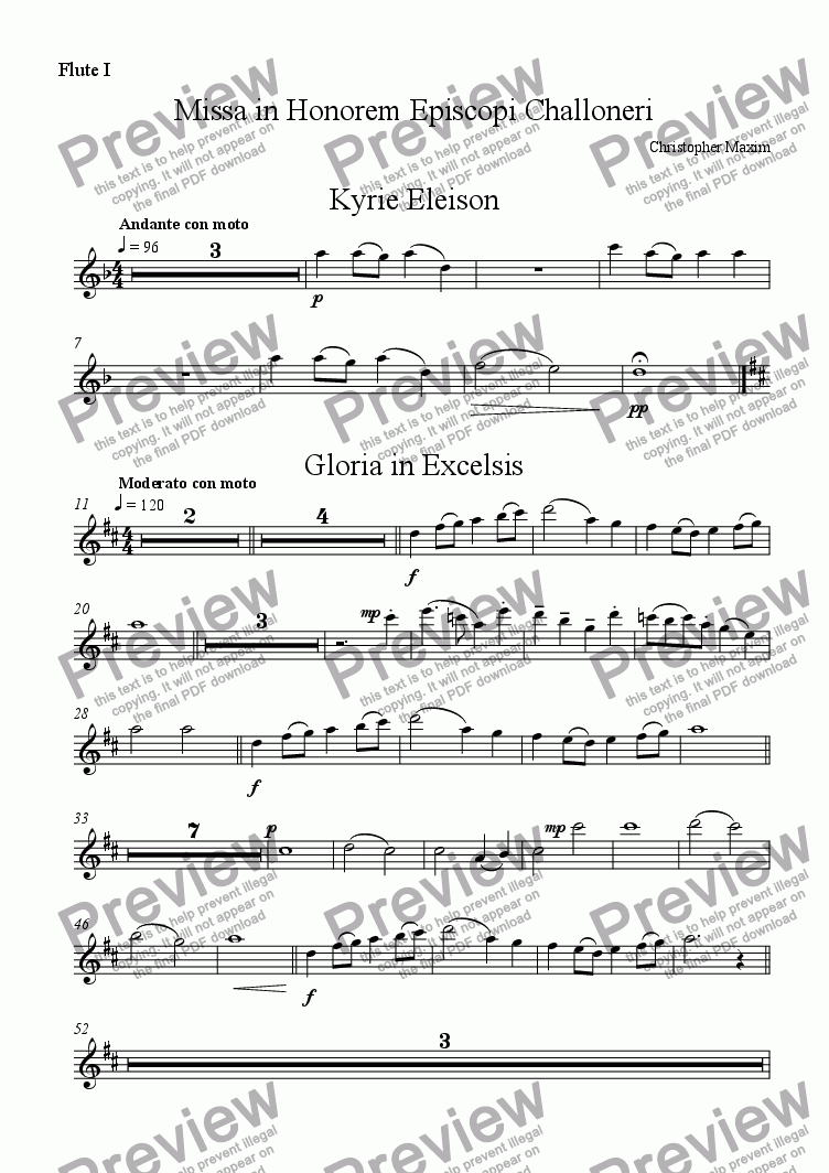 page one of the Flute I part from Missa in Honorem Episcopi Challoneri (English Words) ORCHESTRATED VERSION