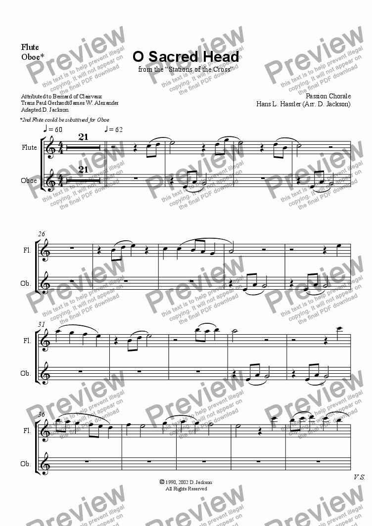 page one of the Flute/Oboe part from O Sacred Head - Full Score
