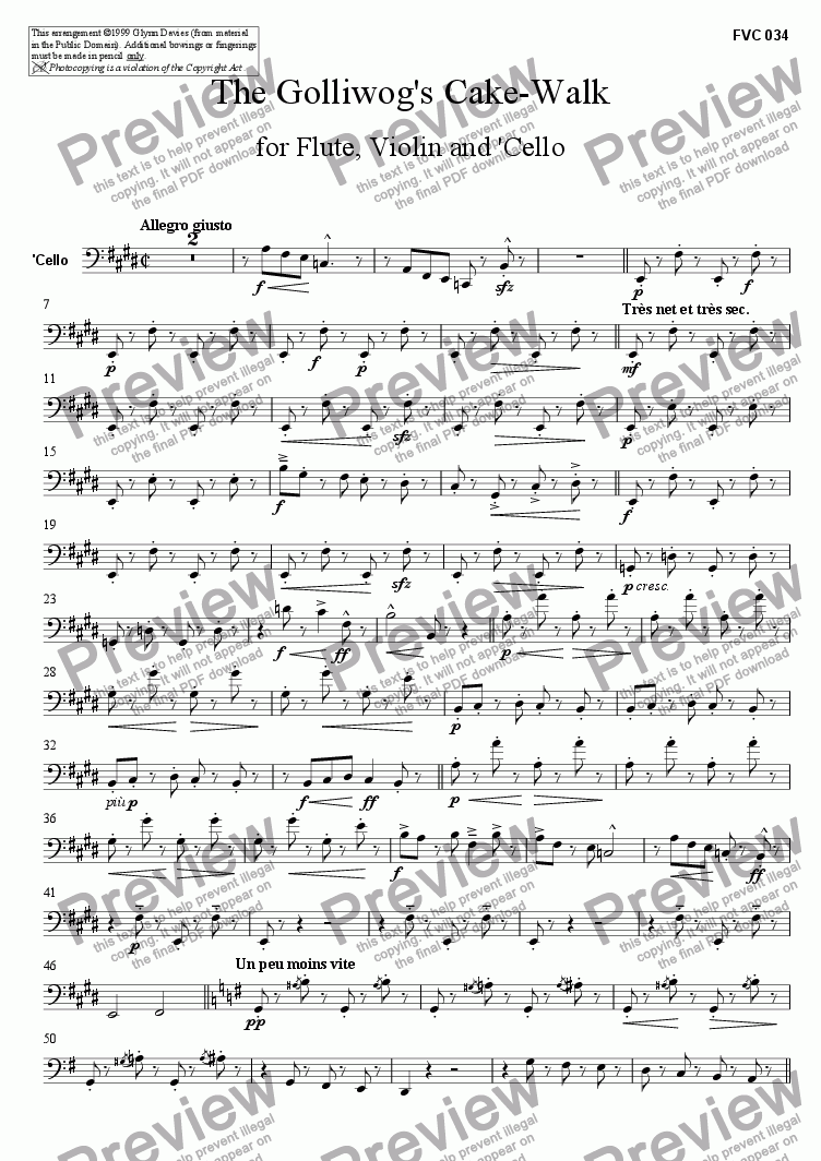 page one of the Cello part from Children's Corner, No.6 The Golliwog's Cake-Walk